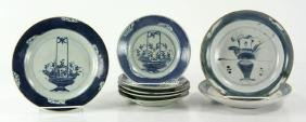 Lot of Eight Chinese Blue and White Porcelain Dishes