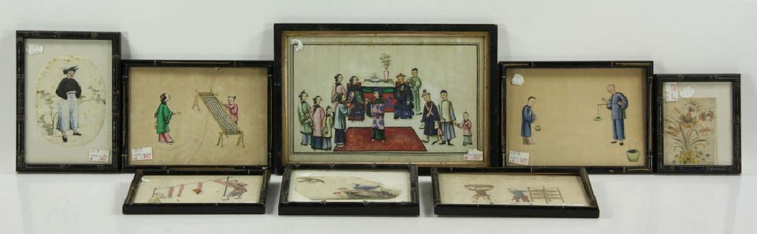 Lot of Eight Chinese Paintings on Rice Paper
