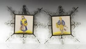 Pair Spanish Art Pottery Tiles
