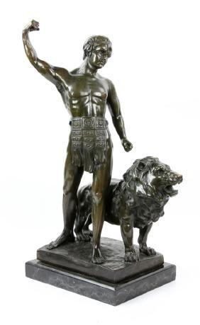 Masier, Gladiator with Lion, Bronze Sculpture