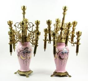 Pair of French Porcelain Candelabra