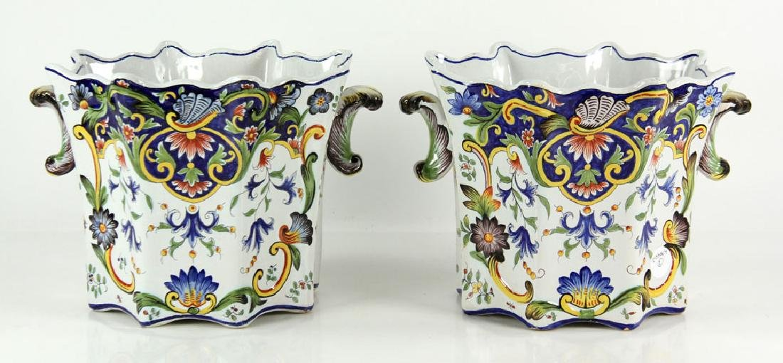 Pair of Faience Desvres Jardinieres
