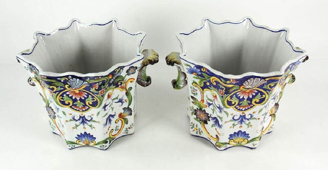 Pair of Faience Desvres Jardinieres - 2