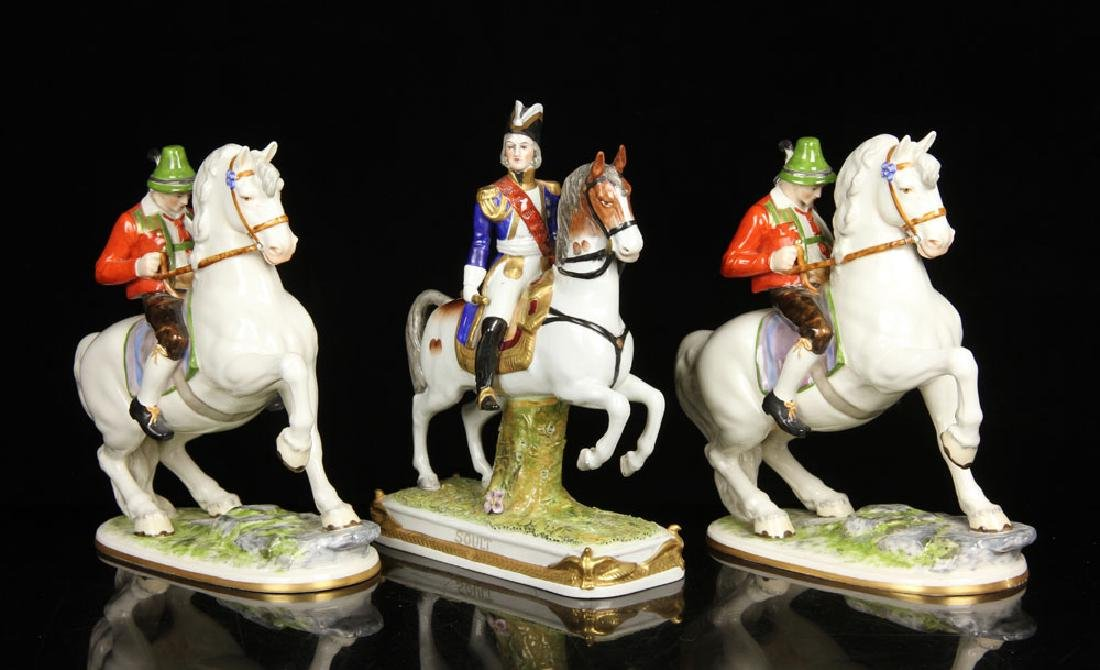 Lot of Three Equestrian Porcelain Figures