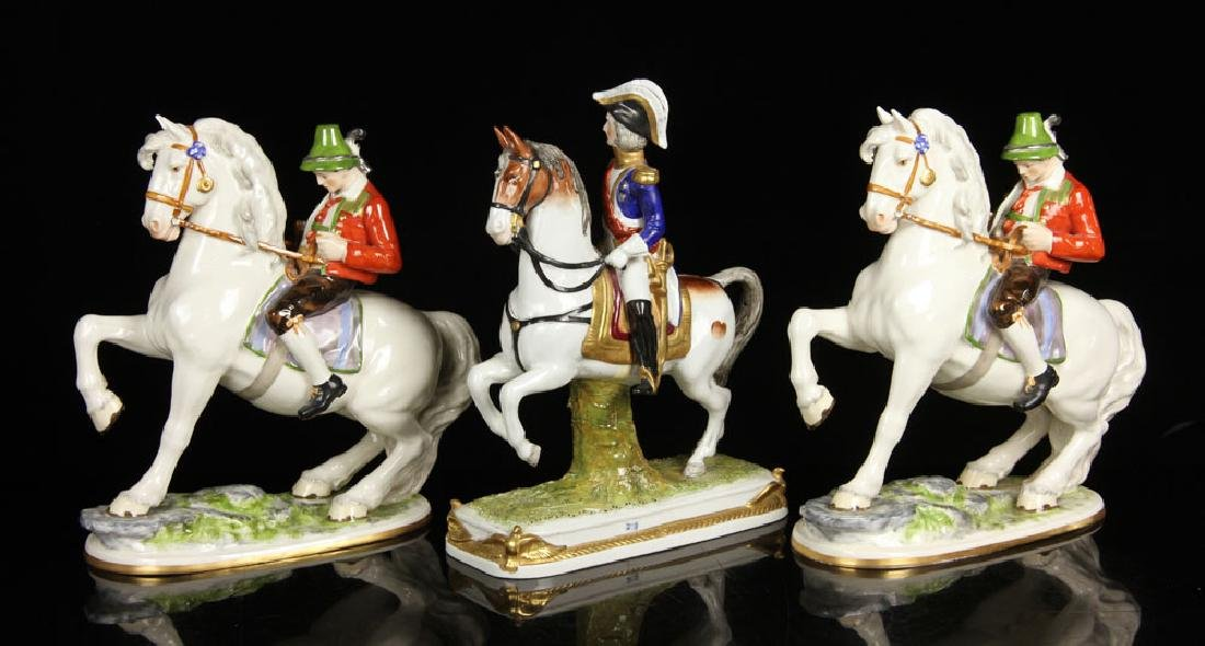 Lot of Three Equestrian Porcelain Figures - 2