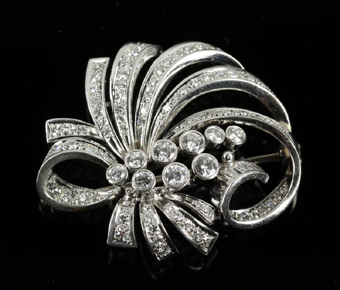 Platinum and Diamond Floral Pendant