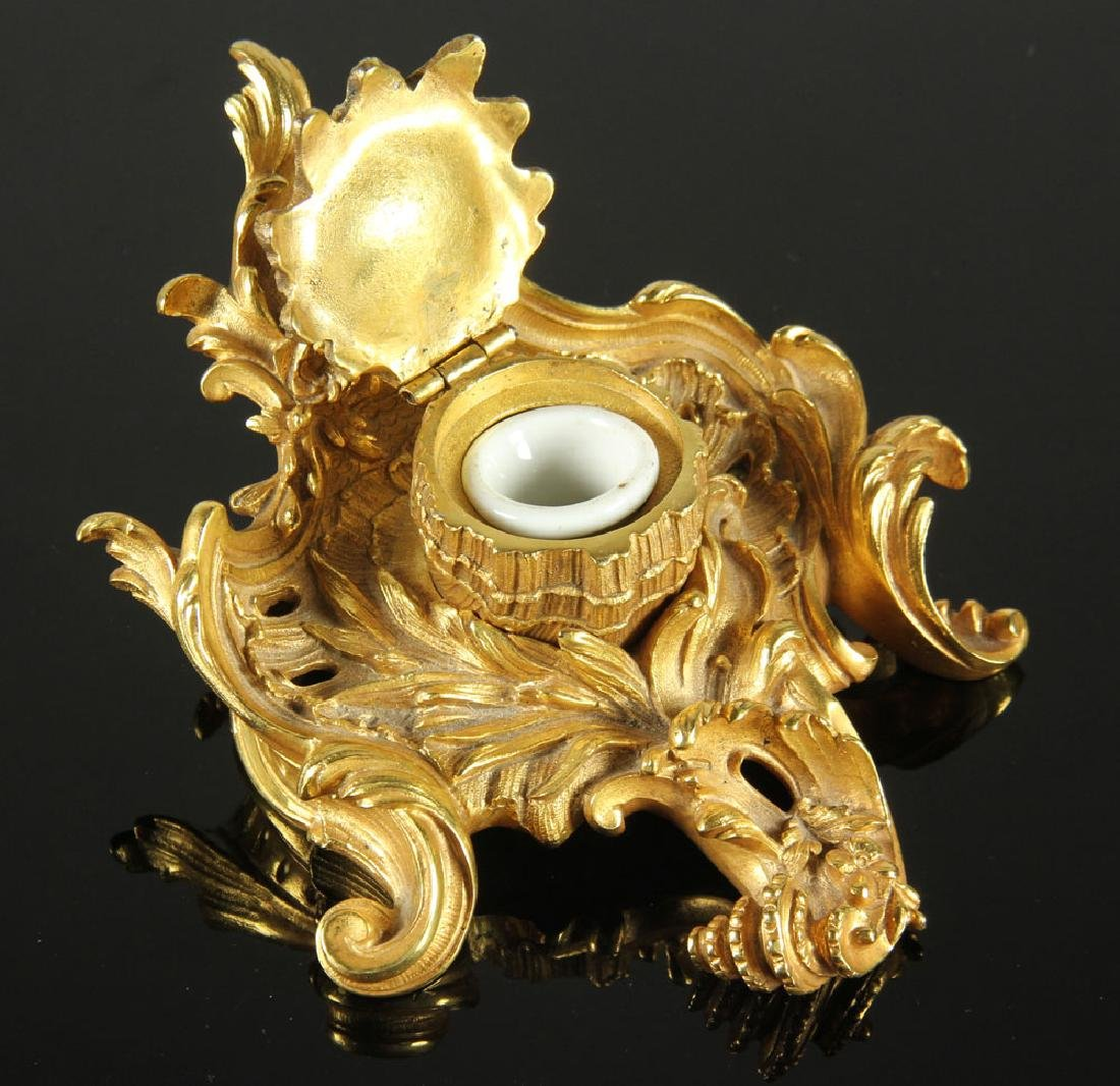 19th C. Louis XVI Gilt Bronze Ink Well - 3