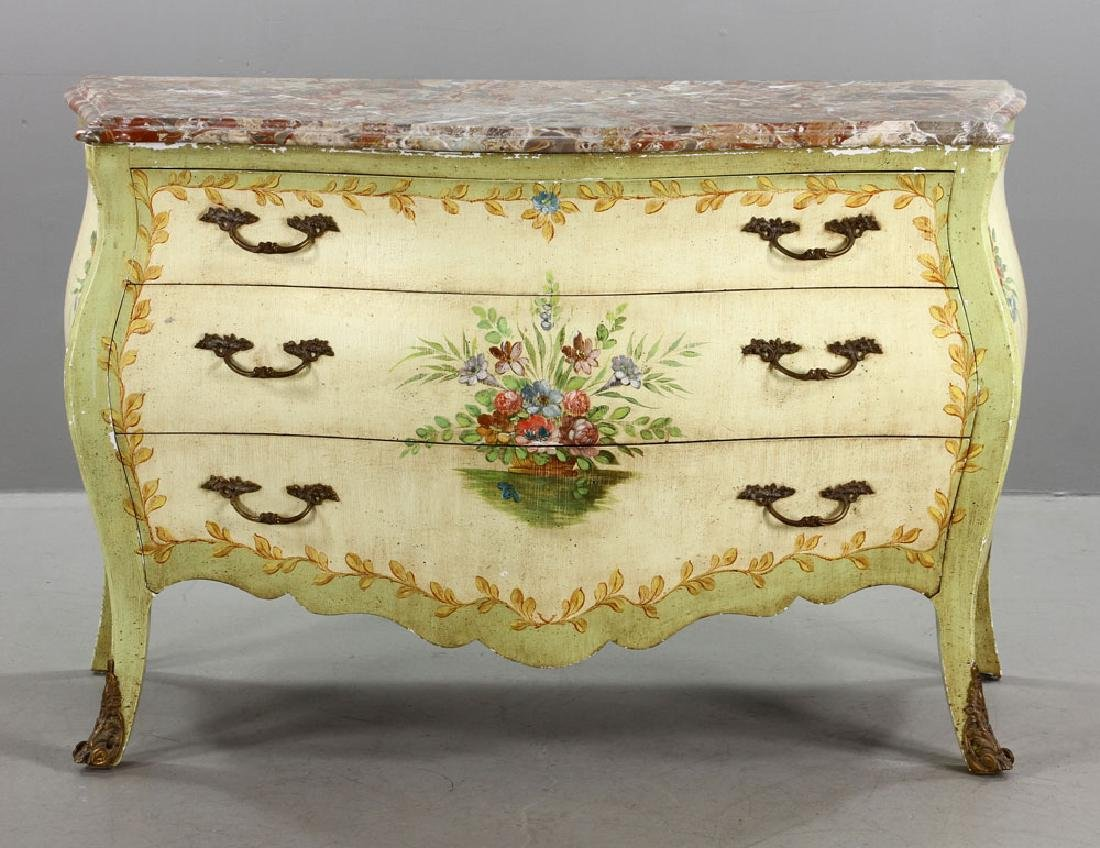French Marble Top Bombe Chest