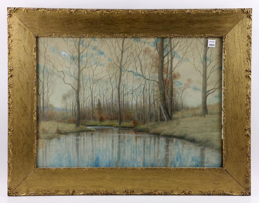 Chaffee, Fall River Scene, Watercolor