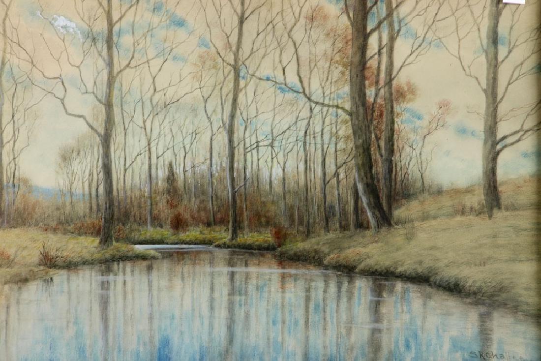 Chaffee, Fall River Scene, Watercolor - 2