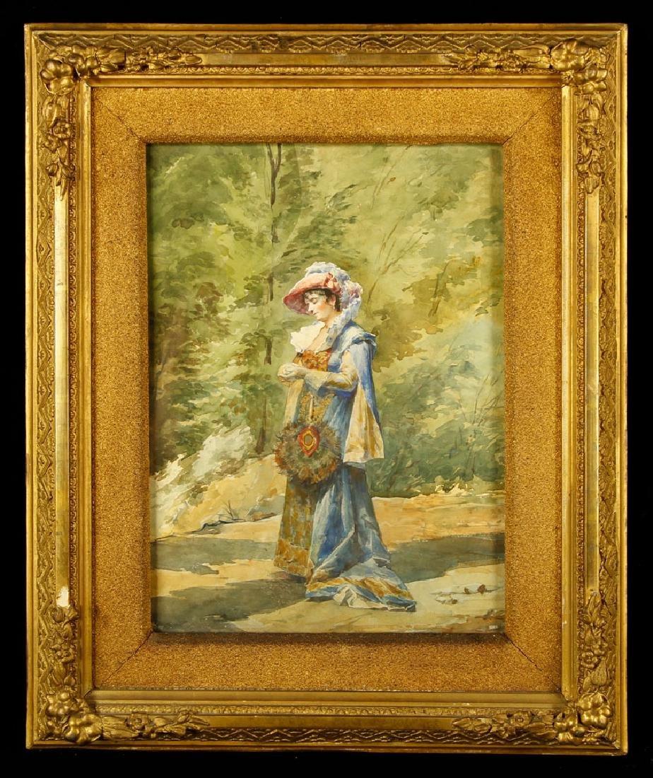 Ferrari, Woman with Blue Cape, Watercolor