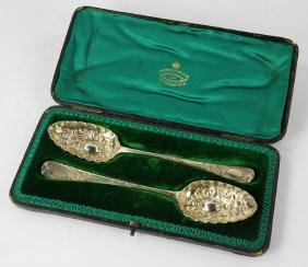 Pr. English Sterling Silver Berry Spoons