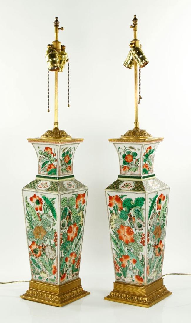 Pr. Chinese Famille Verte Lamps