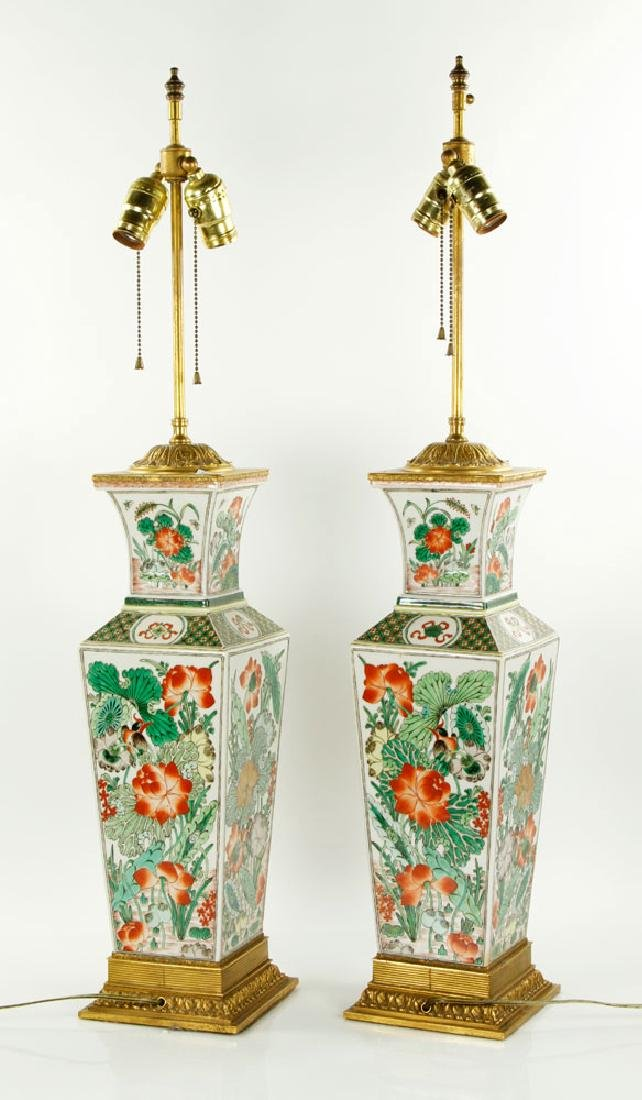 Pr. Chinese Famille Verte Lamps - 2