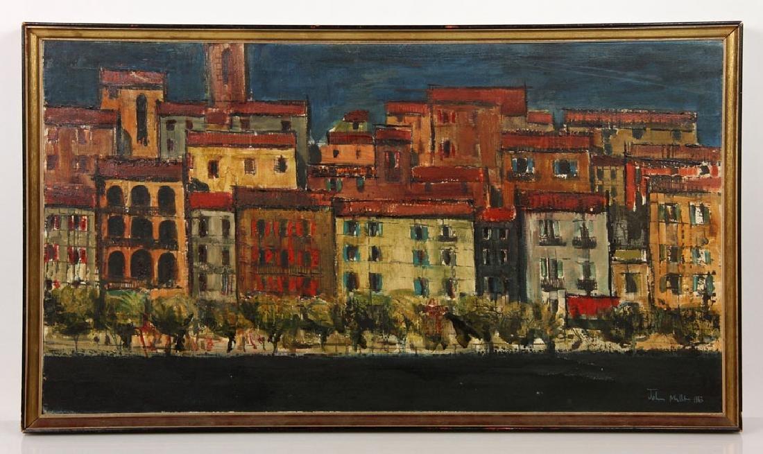 Miller, Village View, Oil on Canvas