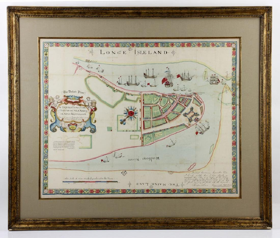1654 Long Island, New York, Hand Colored Map