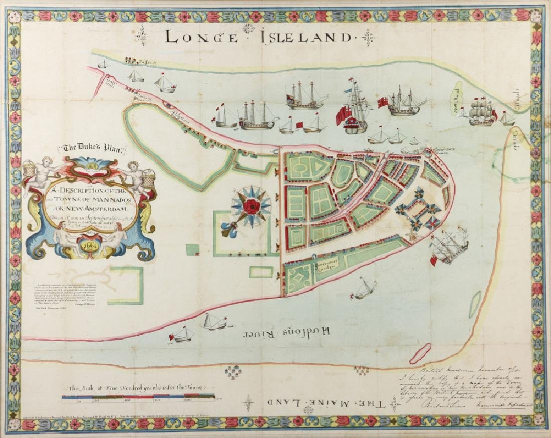 1654 Long Island, New York, Hand Colored Map - 2