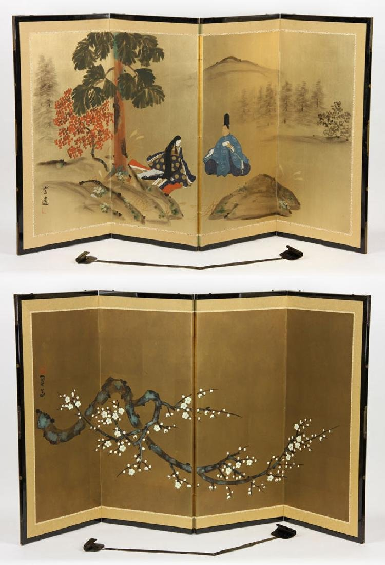 2 Japanese Hand Painted Wall Screens