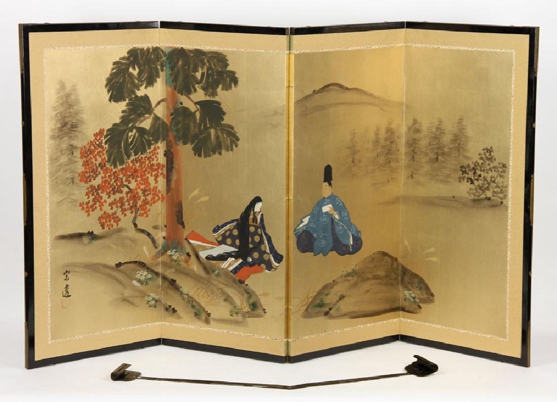 2 Japanese Hand Painted Wall Screens - 2