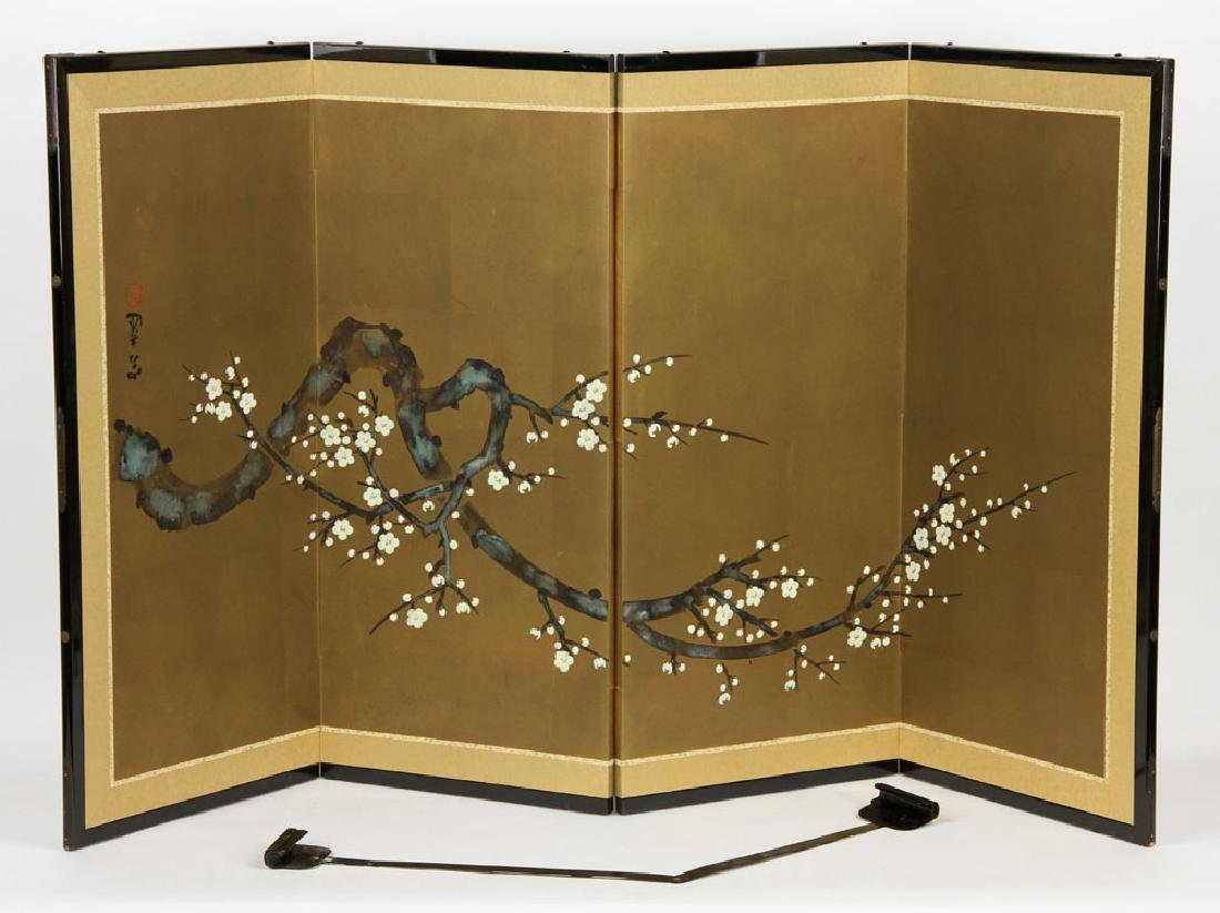 2 Japanese Hand Painted Wall Screens - 3