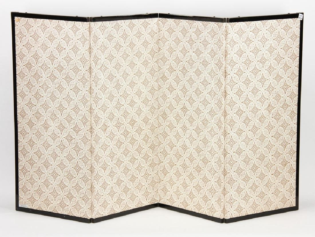 2 Japanese Hand Painted Wall Screens - 4