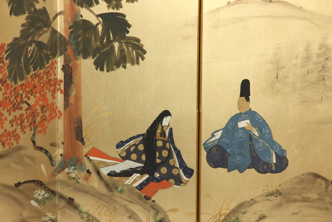 2 Japanese Hand Painted Wall Screens - 6