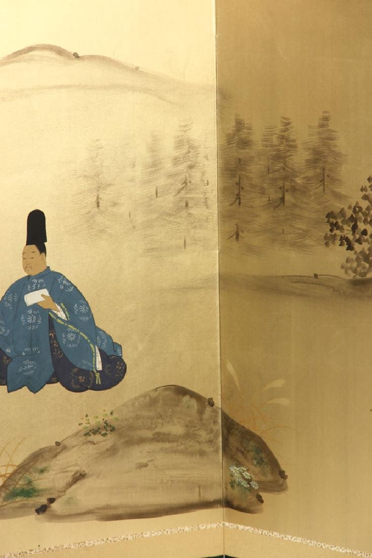 2 Japanese Hand Painted Wall Screens - 7