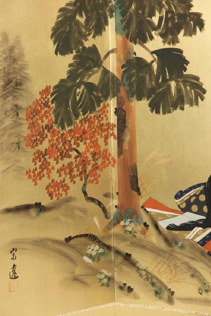 2 Japanese Hand Painted Wall Screens - 8