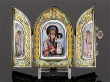Russian Silver and Enamel Icon Triptych