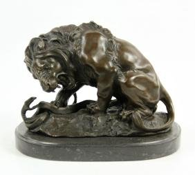 Barye, Lion and Snake, Bronze