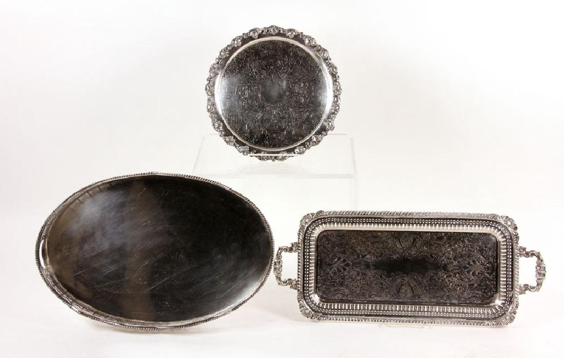 3 Silver Plate Serving Trays