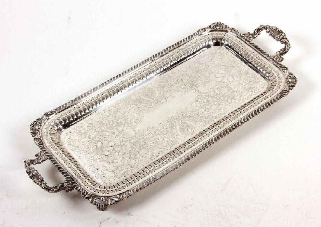 3 Silver Plate Serving Trays - 4