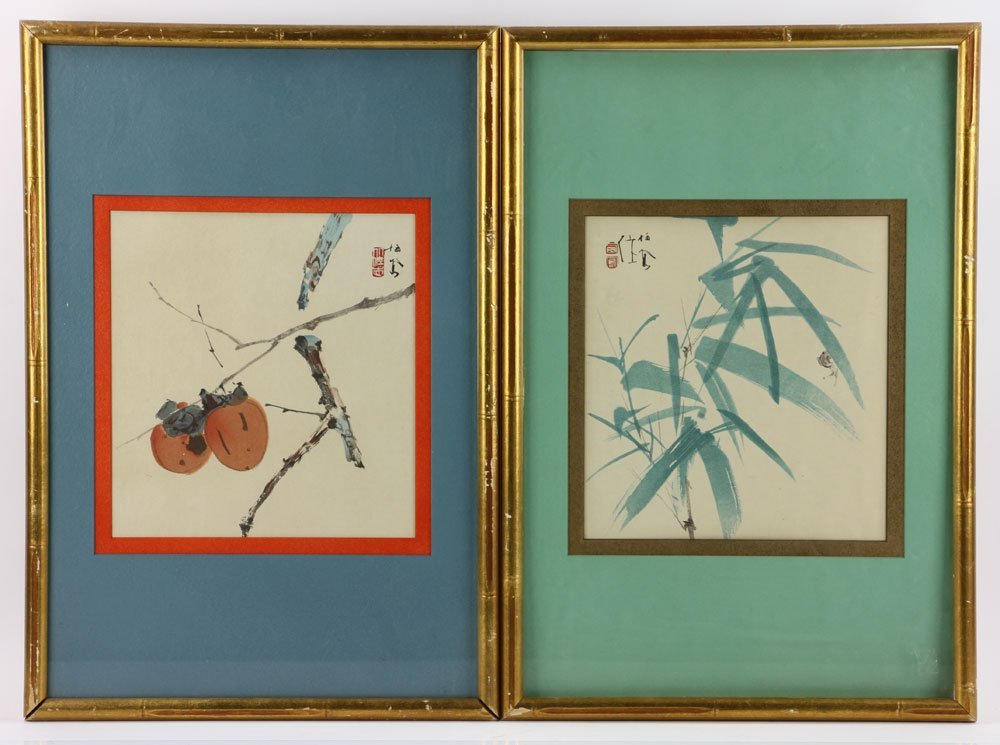 2 Japanese Watercolor Botanical Paintings