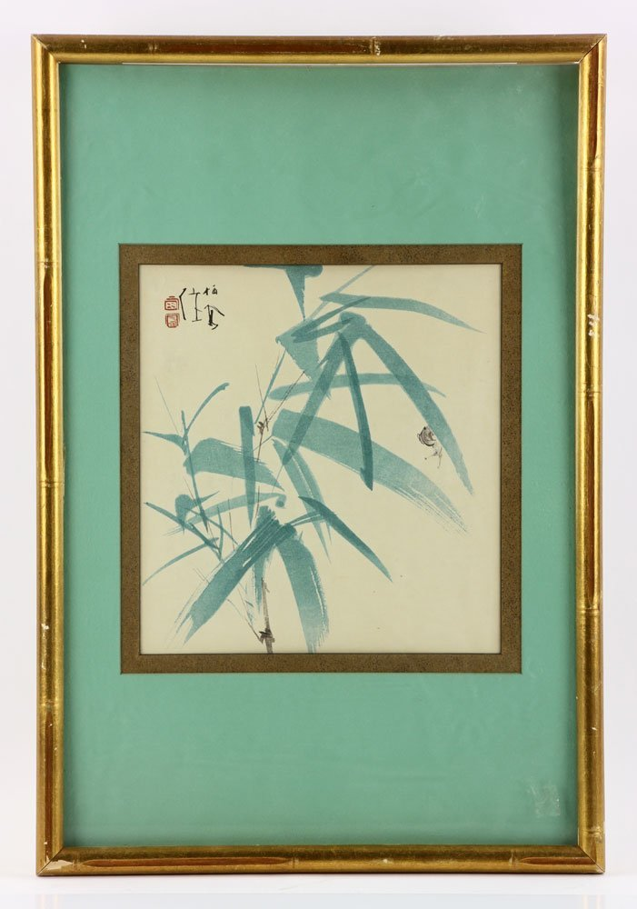 2 Japanese Watercolor Botanical Paintings - 6