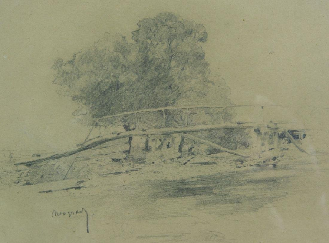 Neogrady, View of Bridge, Pencil Drawing - 2