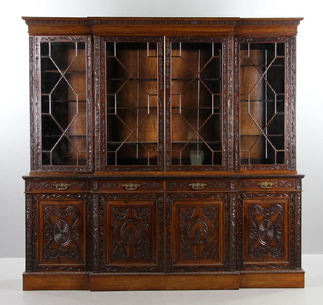 19th C. English Chippendale Style Mahogany Breakfront