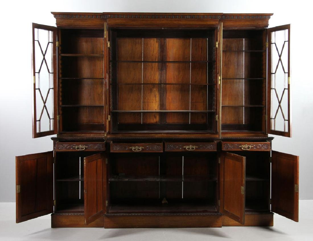 19th C. English Chippendale Style Mahogany Breakfront - 2
