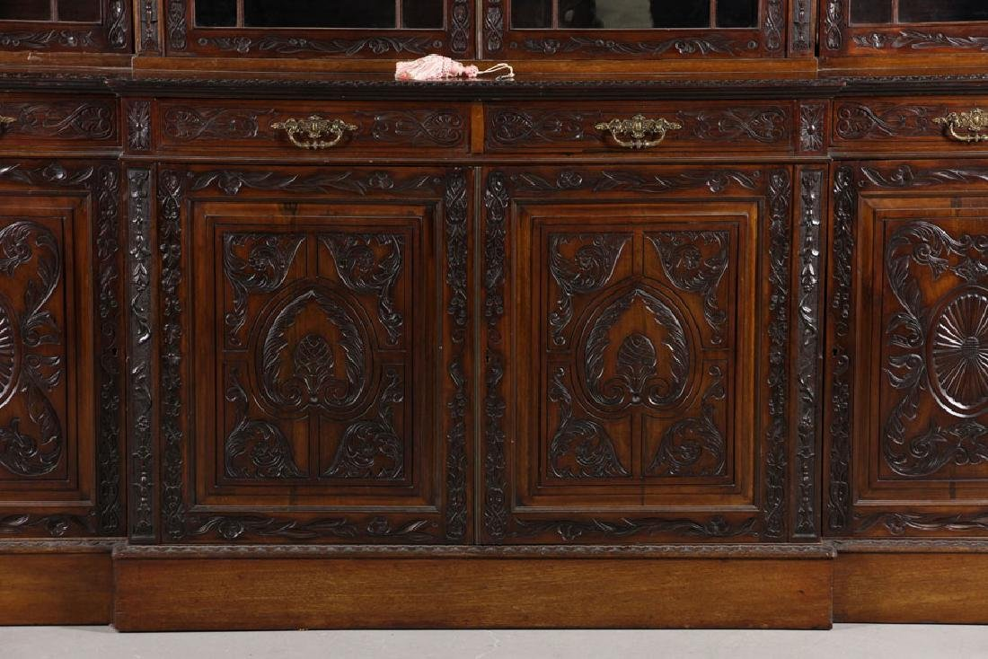 19th C. English Chippendale Style Mahogany Breakfront - 5