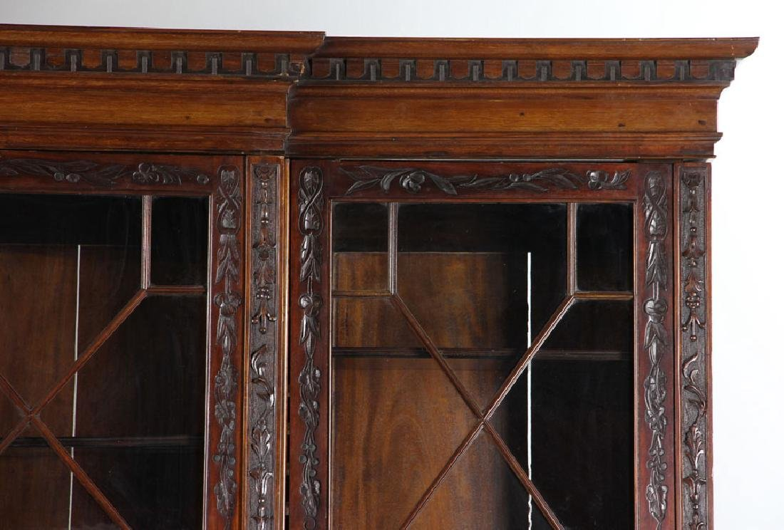 19th C. English Chippendale Style Mahogany Breakfront - 6
