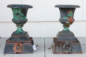 Pr. Cast Iron Garden Urns