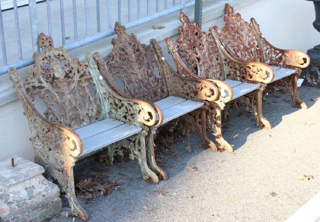 Set of 4 Cast Iron Garden Seats - 3