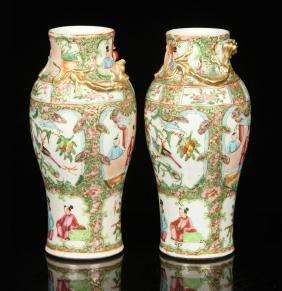 Pr. 19th C. Chinese Rose Mandarin Vases