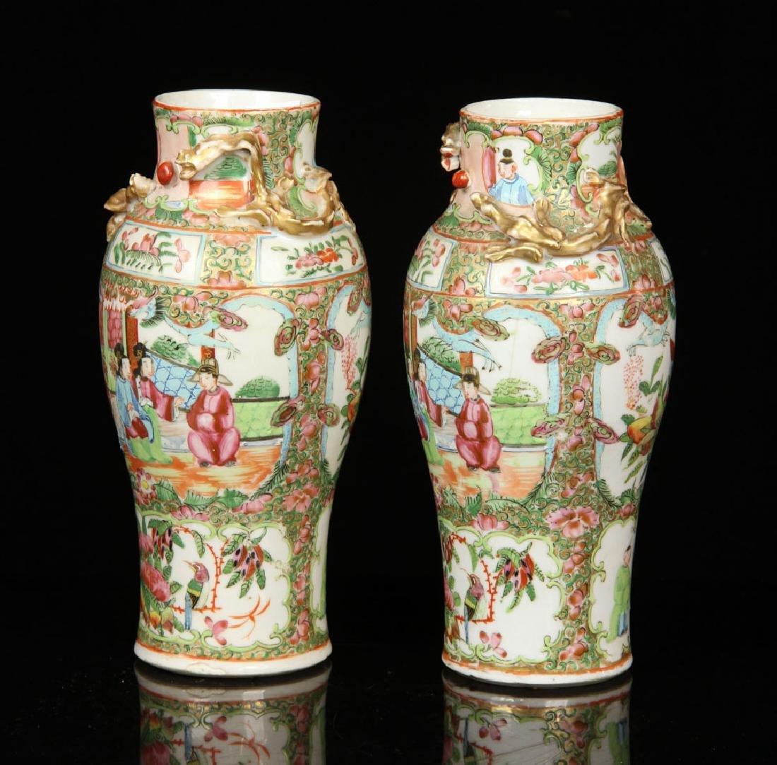 Pr. 19th C. Chinese Rose Mandarin Vases - 2