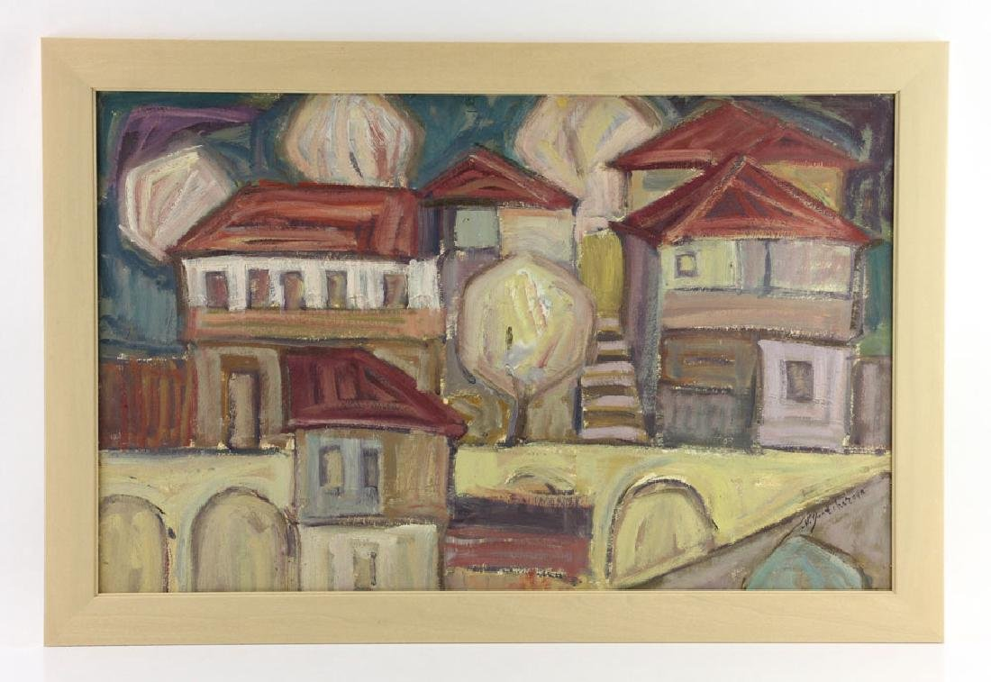 After Goncharova, Abstract Cityscape, Oil on Cardboard