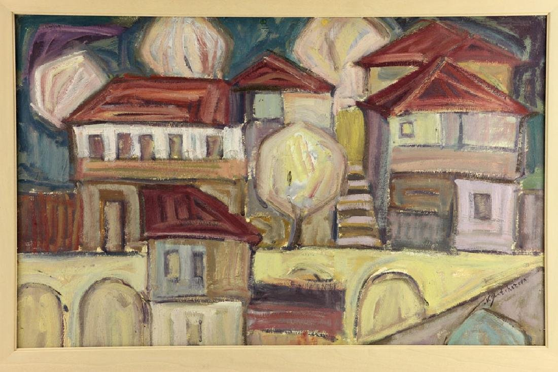 After Goncharova, Abstract Cityscape, Oil on Cardboard - 3