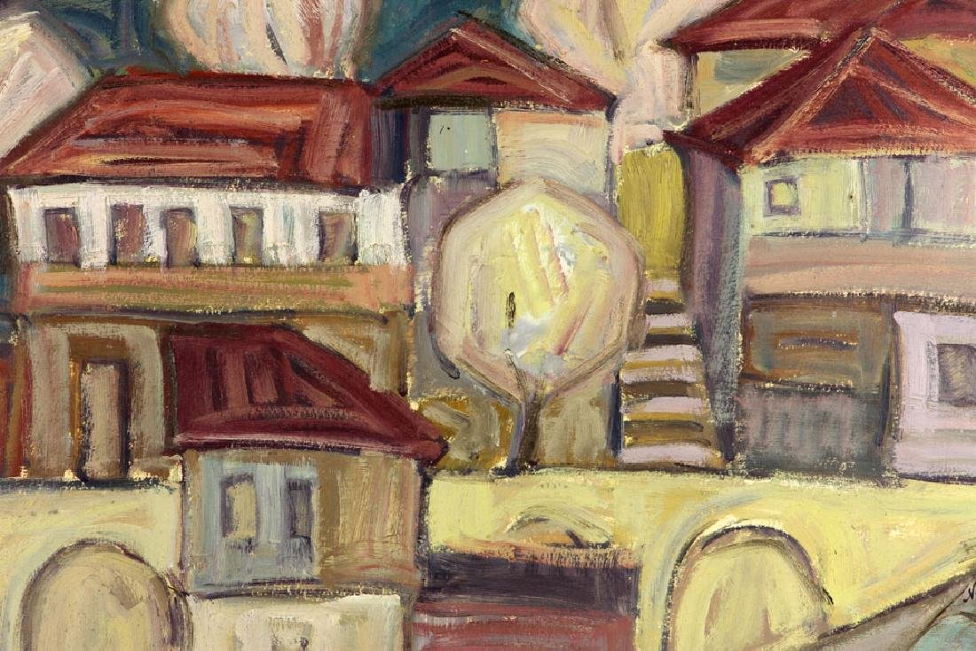After Goncharova, Abstract Cityscape, Oil on Cardboard - 4