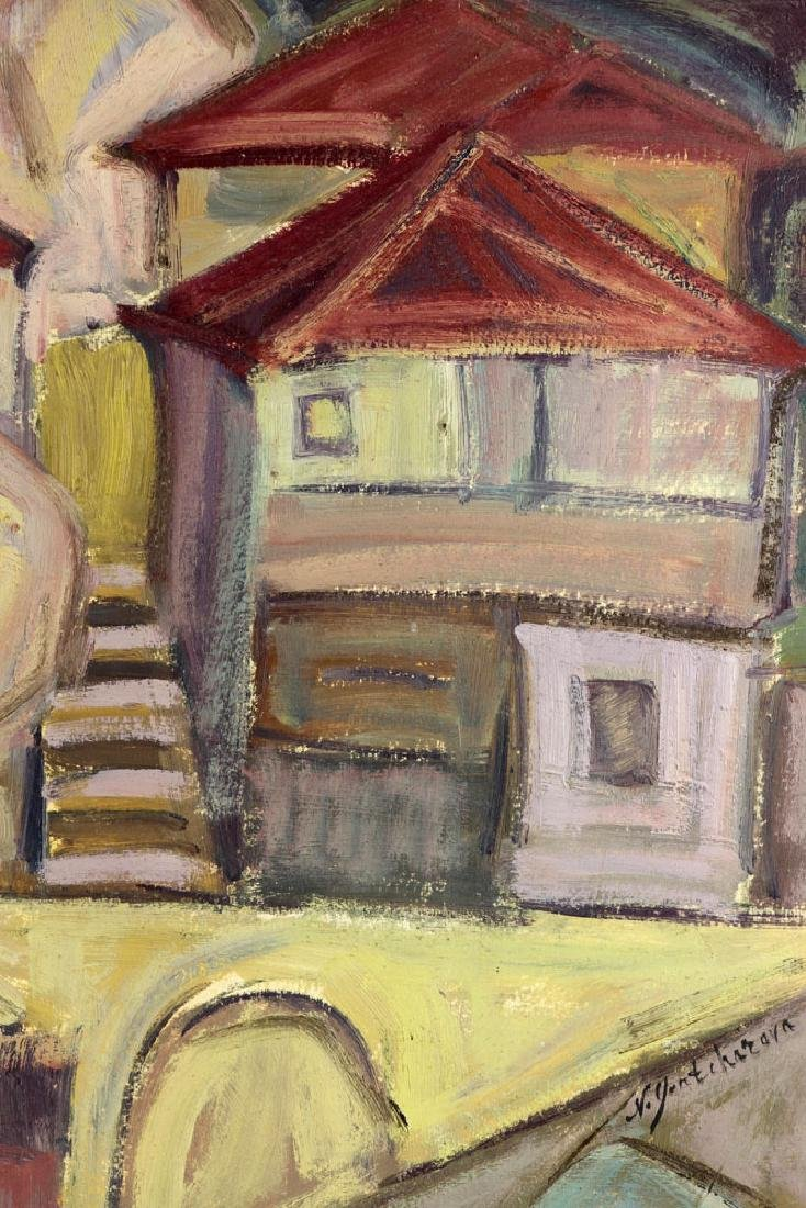After Goncharova, Abstract Cityscape, Oil on Cardboard - 5
