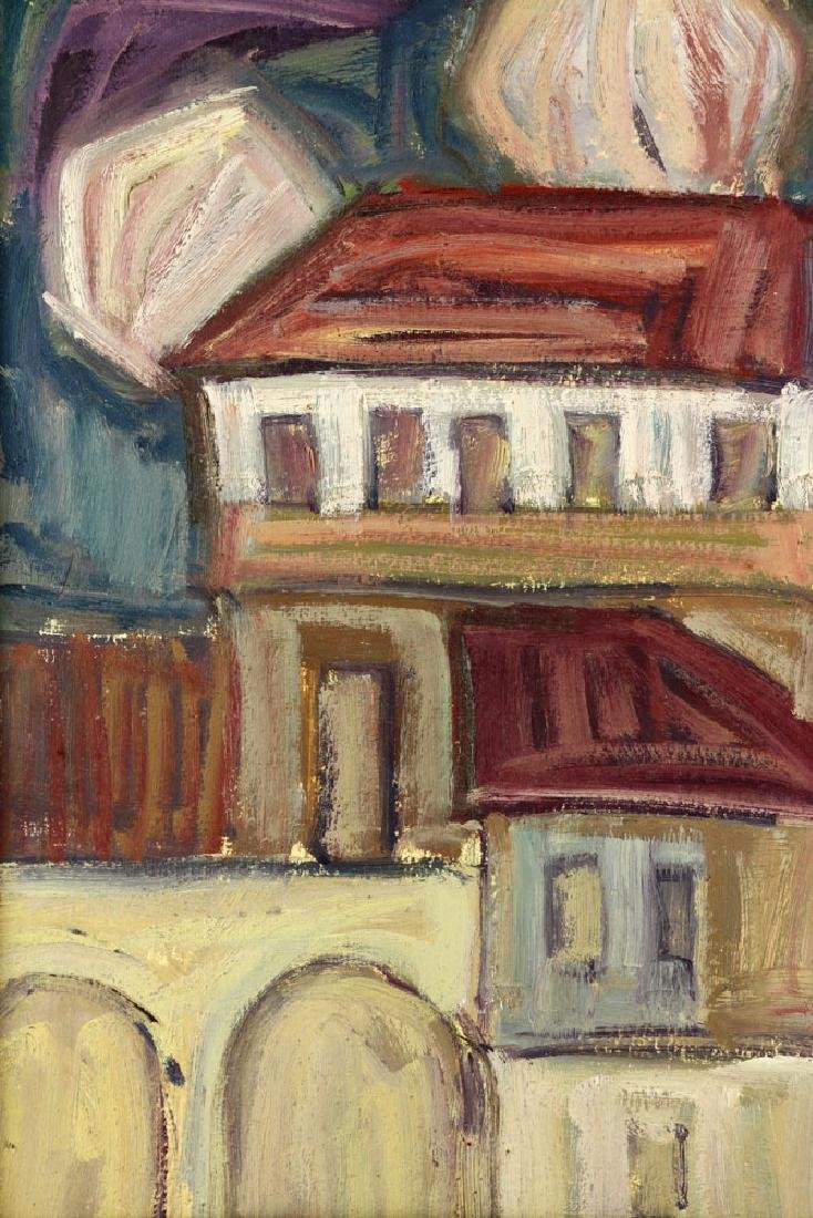 After Goncharova, Abstract Cityscape, Oil on Cardboard - 6