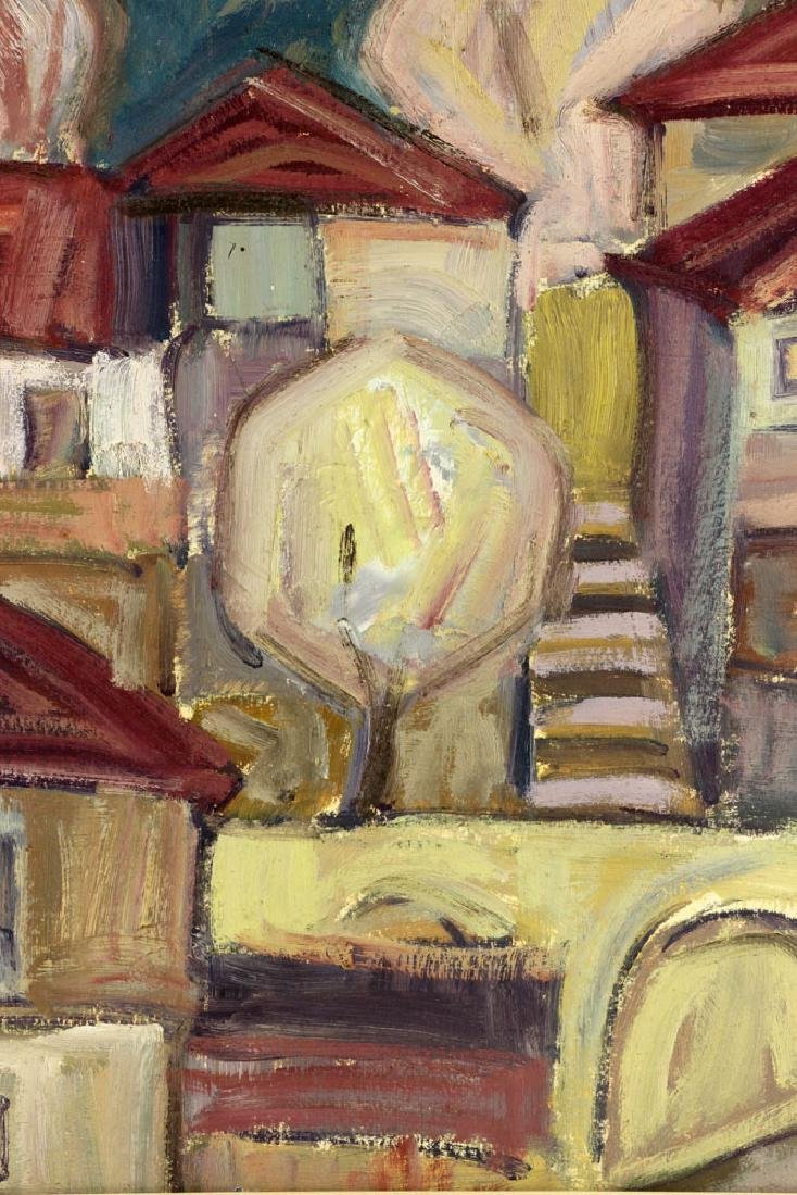 After Goncharova, Abstract Cityscape, Oil on Cardboard - 7