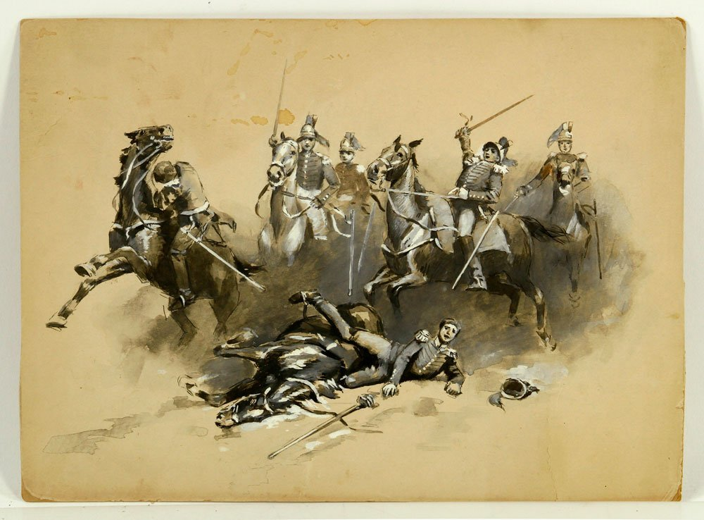 Attr. Gerbino, Battle Scene, Watercolor